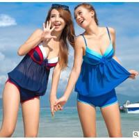 韩国设计钢托泳衣 连体平角显瘦遮肚泳装 舒漫1226
