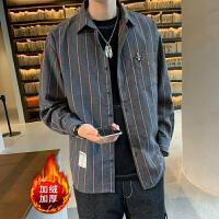 长袖格子衬衫男秋季外套韩版潮流秋冬季加绒加厚上衣休闲保暖衬衣