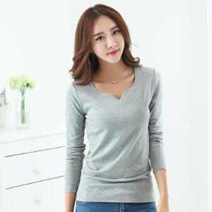 2017秋装新款韩版纯色V领显瘦棉质长袖T恤女士大码打底衫体恤上衣