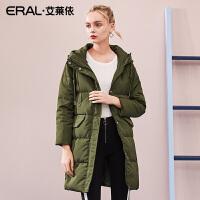 ERAL/艾莱依2018冬装新品休闲时尚印花羽绒服女617104137
