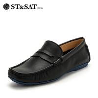 【领券减150】星期六男鞋(ST&SAT)男鞋牛皮革系带商务休闲鞋SS82126319 黑色