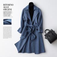 赫本风毛呢大衣零羊绒毛呢外套女中长款韩版2018新款双面呢大衣