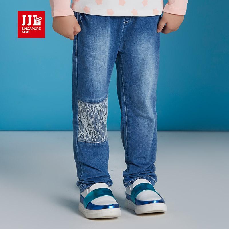 jjlkids季季乐童装女童裤子春秋季中小童牛仔裤松紧裤腰童裤GQK63199专柜同款