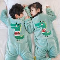 宝宝连体儿童睡衣春秋冬加厚加绒法兰绒男童女童睡袋家居服珊瑚绒