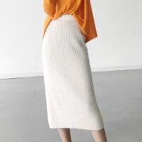 长款羊绒修身百搭针织包臀半身裙2017秋冬新品