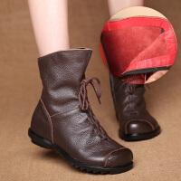 民族风头层短靴女平底软底女靴复古大码加绒棉鞋春秋单靴