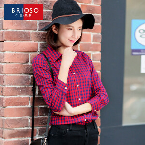 BRIOSO 女士格子衬衫 全棉磨毛棋盘细格衬衣女 秋装新款女长袖衬衫 韩版修身大码女装衬衣 WE18995A