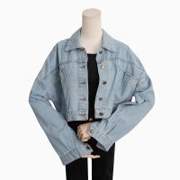 新女士外套2018秋冬韩版新款时尚女装短外套小个子牛仔外套女长袖大小码 均码