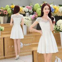 2017夏季韩版短袖纯色蕾丝雪纺拼接连衣裙圆领中长款修身百褶裙子