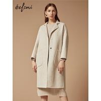 伊芙丽2018秋装新款韩版阿尔巴卡毛呢外套中长款羊毛双面呢大衣女