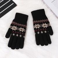韩版手套女冬季加绒加厚毛线手套可爱保暖针织学生骑车分指手套冬 黑色 五指雪花手套 均码