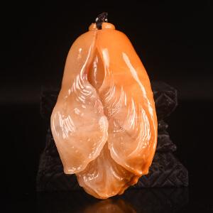 手工雕刻《四季发财手玩件》结晶寿山石取巧全手工精雕寓意吉祥