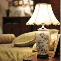 墨菲 原创设计欧式花鸟彩绘陶瓷台灯 美式复古典卧室床头创意时尚简约现代新中式书房客厅灯具
