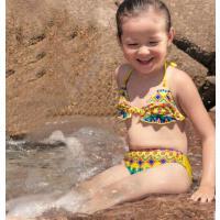 荷叶边 印花几何图案 儿童泳装女中大童学生绑带分体泳衣女童性感三角比基尼泳衣 绑带 支持礼品卡