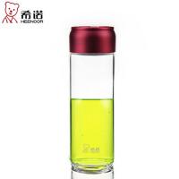 希诺 单层玻璃杯470ml 加厚耐热茶杯 学生水杯创意便携户外防漏杯子 XN-6035