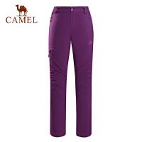 camel骆驼户外女款软壳裤 防风保暖抓绒内里女软壳长裤