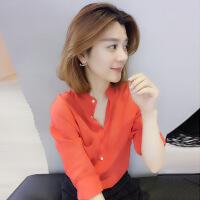 新款优雅修身女衬衫2018新款夏装欧洲站女装欧货潮韩版红色时尚修身洋气衬衫上衣 红色