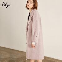【开学季到手价:879元】 Lily冬粉紫韩版直筒中长款双面呢大衣羊毛大衣女