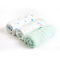 全棉时代 婴童6层水洗纱布面巾小象探索25cm×50cm3件装