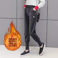 冬季金丝绒运动裤女加绒哈伦侧边条纹休闲长裤卫裤加厚�S金绒
