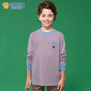 纯棉圆领体恤男童套头打底衫儿童长袖T恤蓝橙条