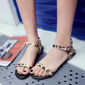 O'SHELL欧希尔新品057-1678E-2韩版豹纹平底鞋女士凉鞋