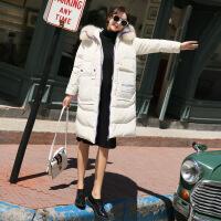 新款羽绒服白色羽绒服女2018新款反季韩版大毛领中长款羽绒大衣冬季外套潮 白色(预售20天内发货)