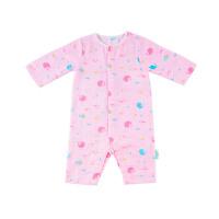 全棉时代婴儿长袖连体服粉底鲸鱼,1件/袋