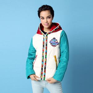 雅鹿秋冬女士女款羽绒服 街头潮范 波普多色撞色 时尚相拼 短款羽绒服冬装外套YO30290