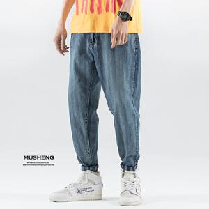 牛仔裤哈伦九分裤子四季竖条纹宽松小脚潮流男装薄款6837