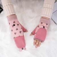 手套女冬露指翻盖两用手套韩版可爱卡通学生写字保暖加厚半指手套 皮粉 熊耳朵翻盖手套 均码