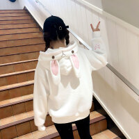 卫衣女冬新款可爱甜美加绒加厚兔耳朵连帽外套学生萌系宽松上衣服