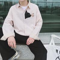 2018秋装新款男士长袖韩版宽松衬衫男学生潮流衬衣打底衫时尚休闲