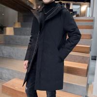 羽绒服男冬季2018新款韩版潮流帅气加厚男款冬装中长款男士外套保暖外套时尚修身款简约百搭