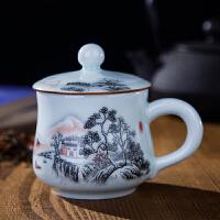 办公室茶杯陶瓷带盖水杯 陶瓷泡茶小杯子