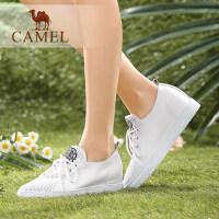 camel骆驼女鞋 新款单鞋 休闲舒适水染牛皮圆头系带单鞋