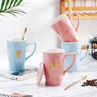 情侣马克杯 男女学生带盖带勺陶瓷礼品网红随手杯创意2019欧式情侣陶瓷咖啡水杯子