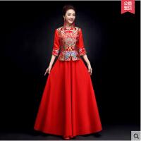 中式结婚礼服女 新款 长袖敬酒服新娘旗袍红色长款修身显瘦