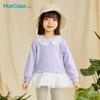 马卡乐童装2021春款女童宝宝卫衣裙精致绣花边甜美气质罗纹上衣潮