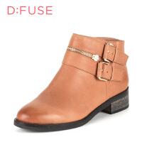 【超品清仓】迪芙斯(D:FUSE)女鞋 牛皮/油腊感牛皮粗跟尖头时尚靴DF54115504