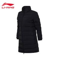 李宁中长款羽绒服女士训练防风透湿保暖90%白鸭绒运动服AYMM108