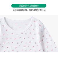 全棉时代 粉蝴蝶婴儿针织长袖爬爬服 1件装