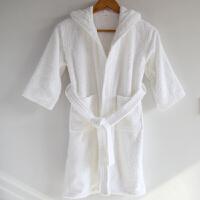 纯棉毛巾料儿童浴袍春秋冬季款加厚全棉柔软吸水游泳浴衣 白色