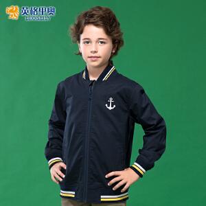 英格里奥男童拉链开衫外套中大童运动棒球服儿童休闲夹克藏青