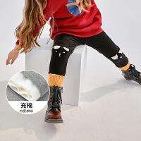 迷你巴拉巴拉女童充棉打底裤冬季加厚保暖高弹力儿童修身长裤子