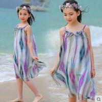 户外新款沙滩裙女童连衣裙儿童长裙吊带裙大童休闲百搭韩版时尚女孩裙子波西米亚
