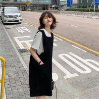 千喜步步高2021夏款套装大码女装宽松显瘦肥mm连衣裙长裙韩版背带裙两件套
