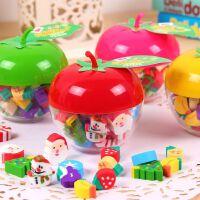 创意圣诞造型小橡皮擦 可爱水果桶装橡皮 学生奖品 新年礼物