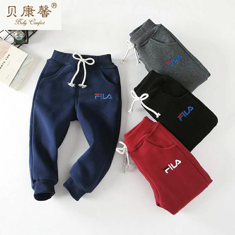 男童字母刺绣超柔棉裤支持货到付款