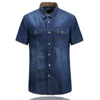 8623夏装新款战地吉普AFSJEEP纯棉尖领短袖牛仔衬衫 男士半袖衬衣男货到付款包邮